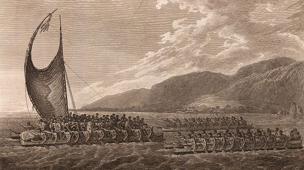 "Kalaniopuu, King of Hawaii, bringing presents to Captain Cook. Shows a Hawaiian canoe with ""crab-claw"" and many oarsmen, carrying Kalaniopuu, the Hawaiian chief, to visit Captain Cook aboard the 'Resolution'. The main canoe, an outriger, is followed by two double-hulled canoes without sails, full of oarsmen, and one boat is carrying wrapped carved figures. The Hawaiian coastal hills can be seen in the right background."